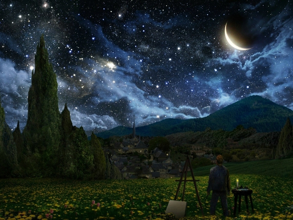 stars moon vincent van gogh crescent tribute night sky starry night easel alex ruiz_wallpaperswa.com_48